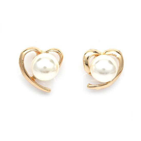 Idin Jewellery - Gold-tone open heart with white faux pearl clip on earrings IUkVMrY